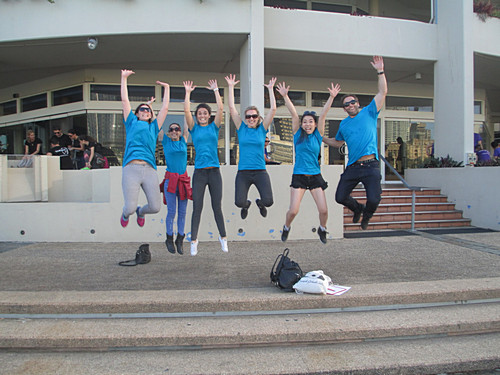 Blue Team Jumping during the best Brisbane Team Building event Brisbane Amazing Race